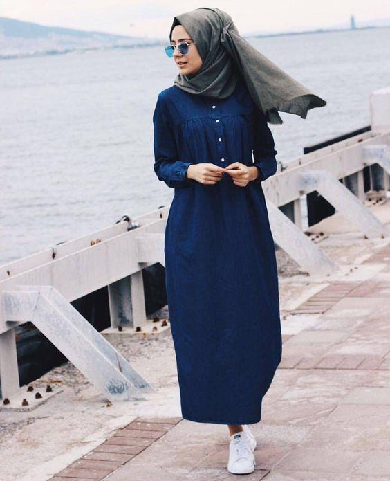Comment porter la robe chemise en automne - 55 Styles de Hijab Fashion - astuces hijab