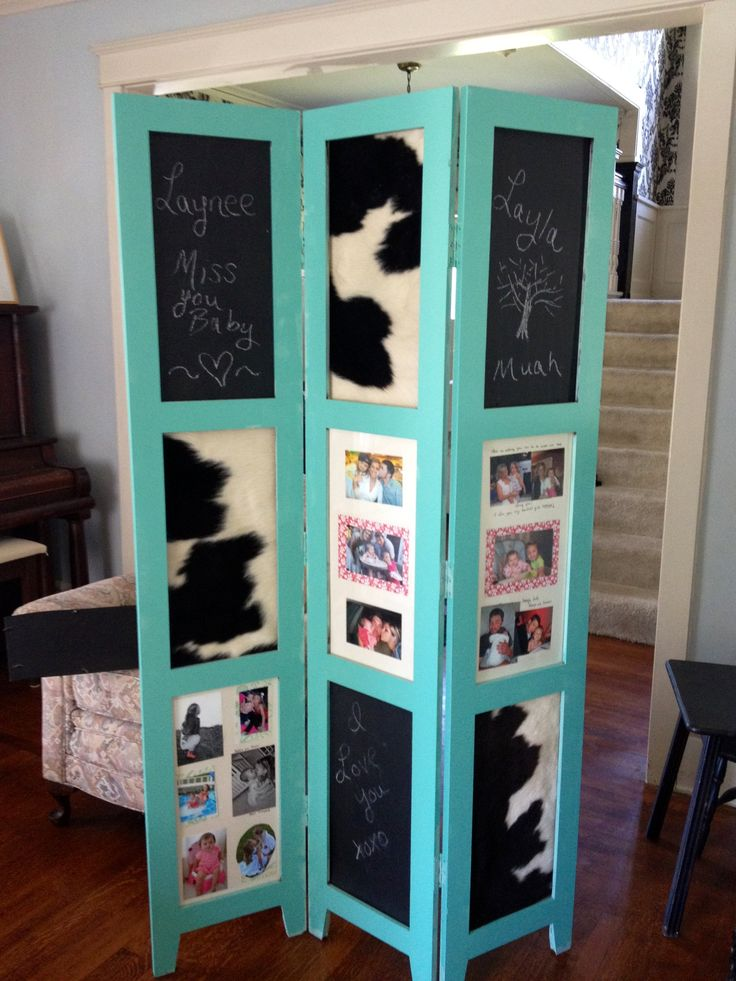 DIY frame repurpose! #teal #cowhide #chalkboard could also add cork board,. Room  Divider ... - 17 Best Images About Tri Fold Screen Upcycling On Pinterest