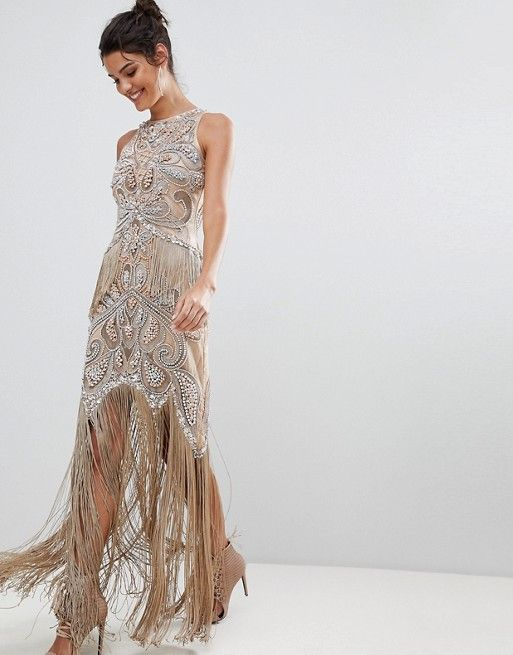 290977056e1 A Star Is Born Luxe All Over Jewel Embellished Maxi Dress With Beaded  Tassel Hem