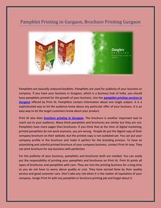 Pamphlet printing in gurgaon, brochure printing gurgaon