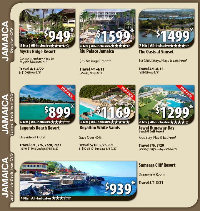 Jamaica Vacation Specials with Air from Cincinnati from $899 Jamaica All-Inclusive Vacation Package Deals with Flights from Cincinnati CVG  Book your Vacation Express Cincinnati to Jamaica trip today, which includes airfare, hotel, local representative and all taxes. Plus enjoy an unbeatable deal on an all-inclusive resort, which includes all meals and unlimited drinks at one low price.    For Details Contact http://taylormadetravel.agentarc.com  taylormadetravel142@gmail.com  call…