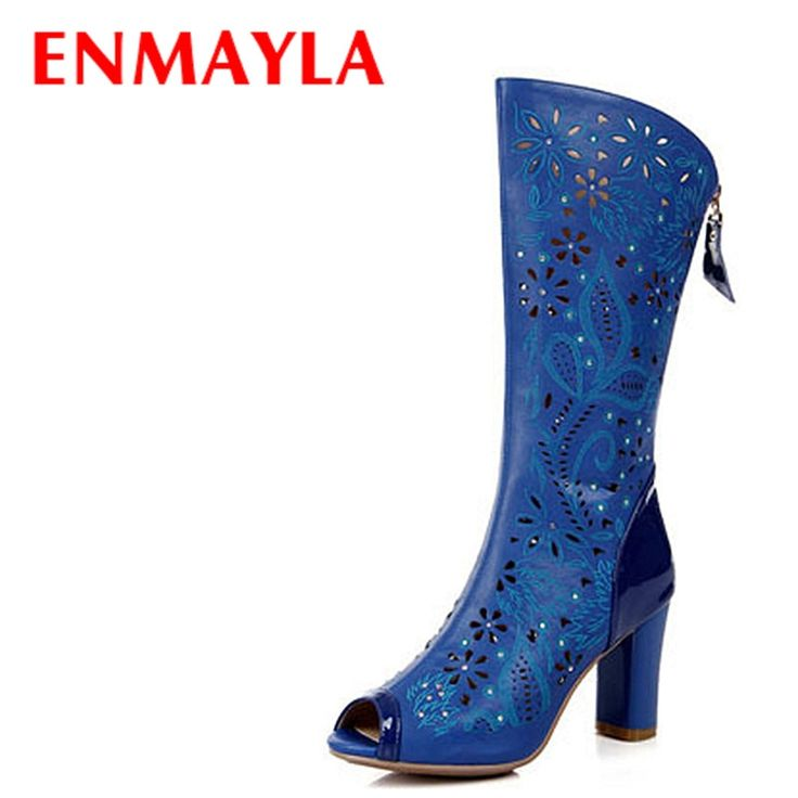 47.05$  Watch here - http://alifx9.shopchina.info/1/go.php?t=32358502322 - ENMAYLA Fashion Women Peep Toe Boots Rhinestone Summer Boots Women Cut-outs Open Toe High Heels Knee High Boots for Ladies Shoes  #buyonline