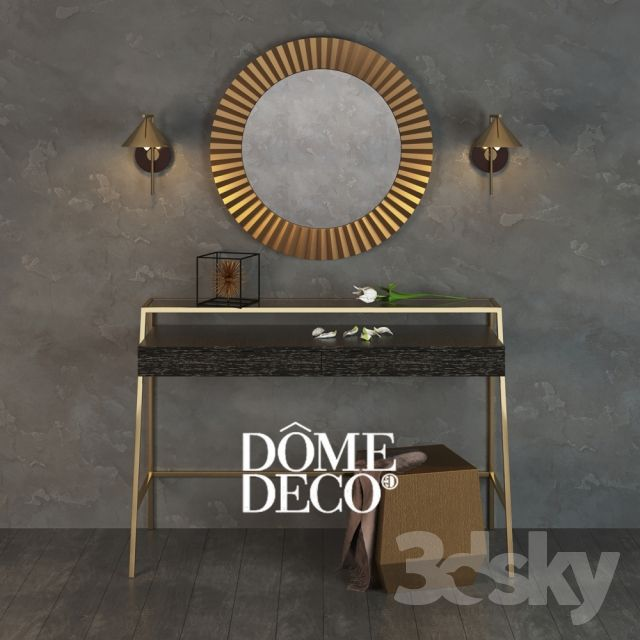 Dome Deco decor set with mirror console, pouf and lamps