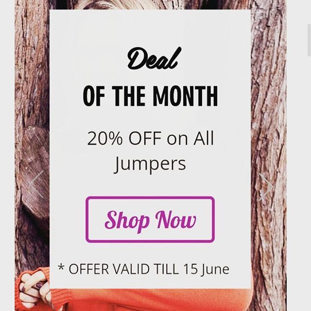 Now sale is on Jumpers. Choose your fav style and take 20%off. Hurry! offer valid only till 15 June. Free shipping above $50 only.  Happy Shopping :-)  #sale #onlinesale #jumper #wintersale
