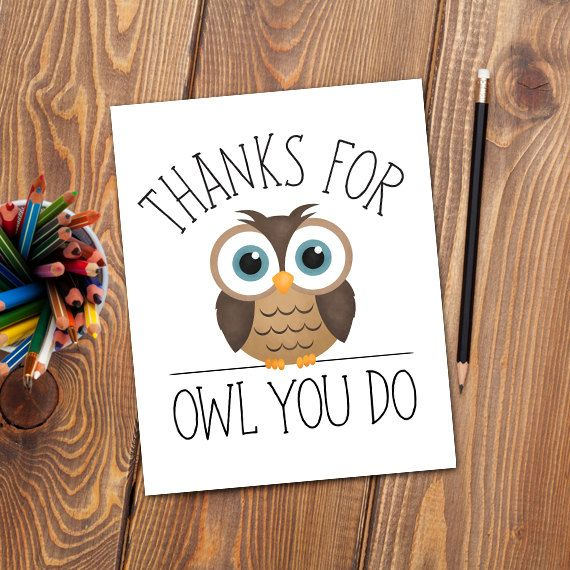 Thanks For Owl You Do Digital 8x10 Printable by ALittleLeafy