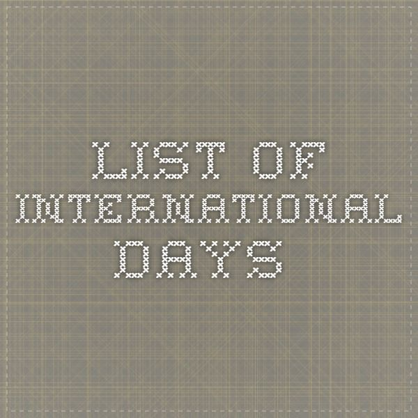 list of international days, topics for lessons, conversations