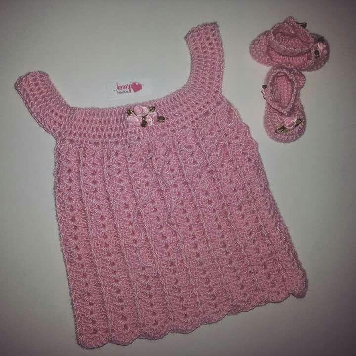 Vestido y chalitas tejidas a crochet en hilo algodón