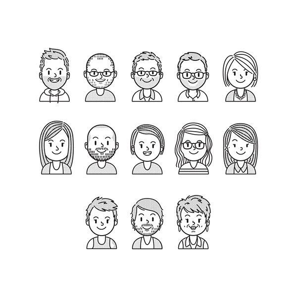 A fun little personal project I did. I tried to accurately portray my coworkers by using only lines and dots.
