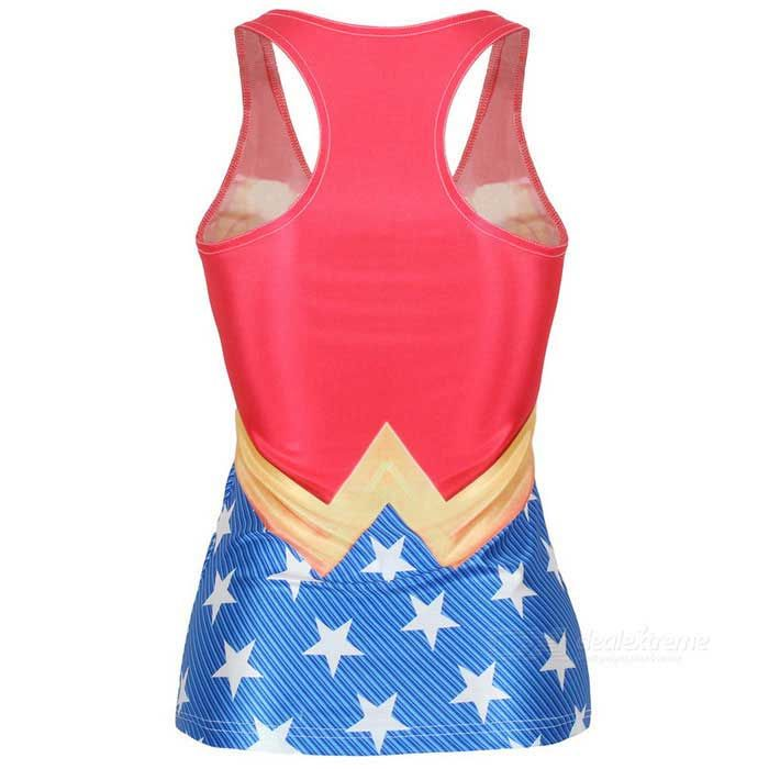 Women's Lovely Patterned Nylon + Spandex Vest Top - Red + Yellow + Blue