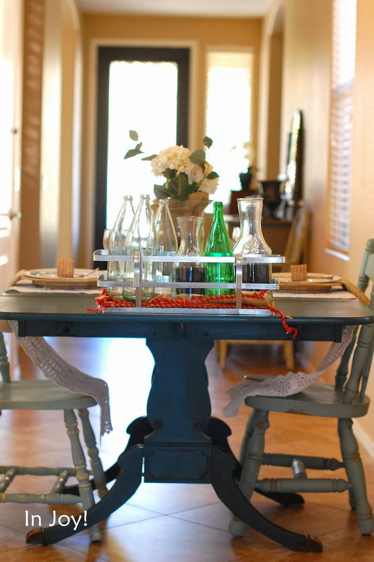 Furniture. Decor: Teal Duncan Phyfe Dining Table