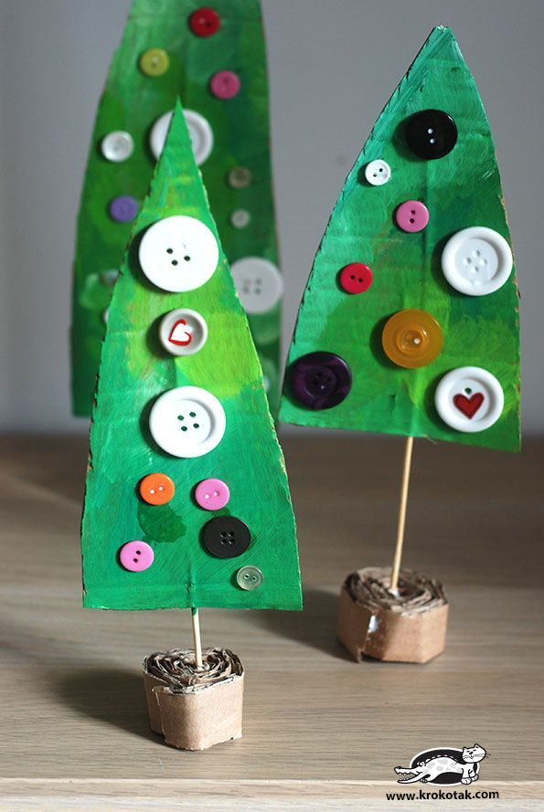 Cardboard Christmas Activities - fun little Christmas trees, would be perfect for decoration or small world play!