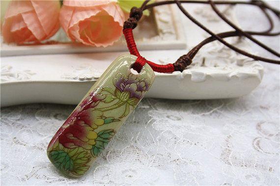 peonia pittura cinese porcellana collana porcellana ceramica fiore istruzione gioielli orientali intrecciato accessorio retrò
