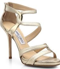 "Jimmy Choo Gold Metallic Leather Platform Sandals; size 6.5,Great cond, Hgt (4"")"