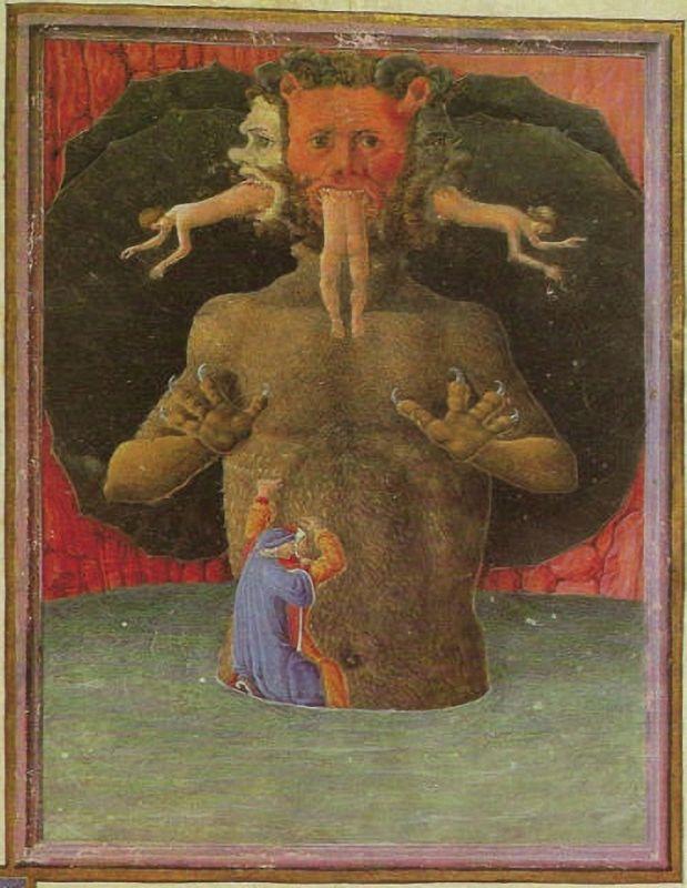 Lucifer, 1480. Illustration to Dante's Divina Comedia in the version of the Codice Urbinate Latino 365.