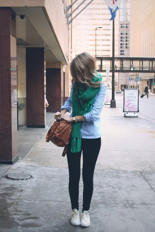 Green scarf, chambray shirt, dark jeans, and white chucks. Freaking adorable