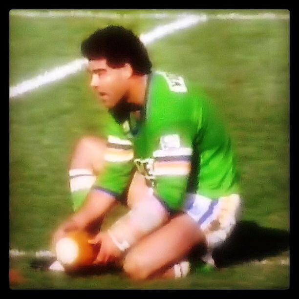 """MORE GREAT CANBERRA RAIDERS MOMENTS: """"Has Meninga got spiders on him or something?"""", 1990    In Round 5 of 1990, the Raiders bulldozed over the top of the Roosters at Bruce Stadium, running out winners 66-4. Mal Meninga scored a record five tries and 38 points. No Raiders player has scored more tries or points in a match to this day. So dominant was Meninga, Roosters forward Paul Vautin at one point yelled at his team mates: """"Has Meninga got spiders on him or something?"""""""