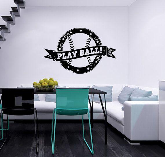Ball Baseball Stamp Logo Emblem Vinyl Decal Housewares Wall Sticker Design Murals Art Modern Interior Home Decor Stylish Room Window SV5168