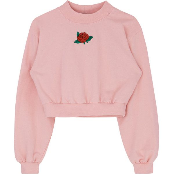 Embroidered Rose Mock Neck Crop Sweatshirt (£31) ❤ liked on Polyvore featuring tops, hoodies, sweatshirts, shirts, sweaters, sweatshirt, embroidered crop top, rose pink top, embroidery top and bunny top
