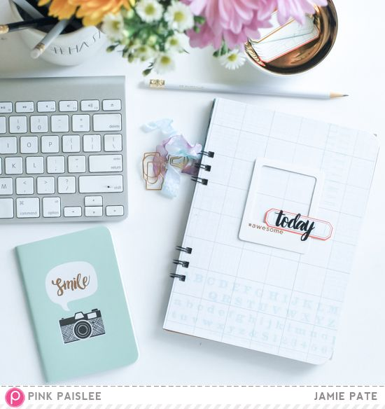 Memorandum Back to School Journal | Pink Paislee makes getting back to school so easy with Memorandum Collection papers and embellishments. Make a back to school teacher or student journal and compose notes and quotes and everyday thoughts. @jamiepate for @pinkpaislee