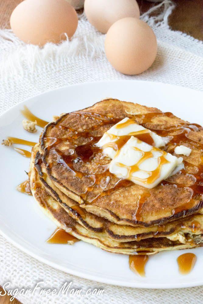 4 Ingredient Flourless Ricotta Pancakes- gluten free, grain free, low carb, keto, thm- http://sugarfreemom.com
