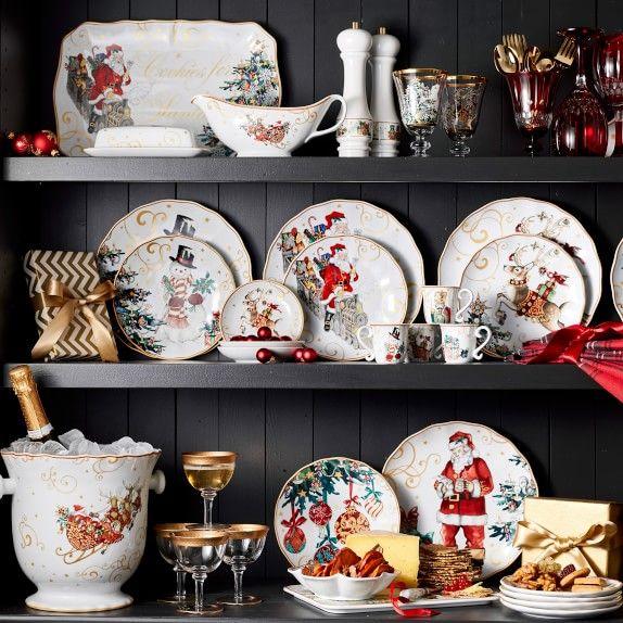 """Pottery Barn NOSTALGIC SANTA Serving Platter Reindeer 13.25/"""" NEW"""