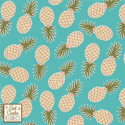 Pineapples on Robin Egg Blue Cotton Jersey Blend Knit Fabric - A Girl Charlee Collection exclusive!  On trend pineapples in buttercup yellow, exuberance orange, and woodbine green more muted modern pallet, on our Robin Egg Blue colour background signature white cotton jersey blend knit.  Fabric is very soft and has a nice stretch and drape.  Pineapples measure 7cm tall and 3cm wide.  A versatile fabric that is great for many applications.  Made in USA  ::  £10.95