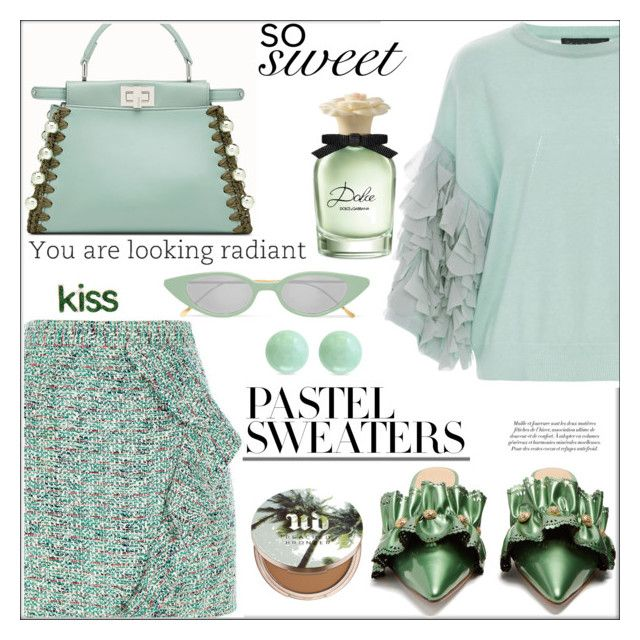 """""""So Sweet: Pastel Sweaters (tfs)"""" by pat912 ❤ liked on Polyvore featuring River Island, Rue St., Tabula Rasa, Illesteva, Dolce&Gabbana, Urban Decay, Effy Jewelry, polyvoreeditorial and pastelsweaters"""