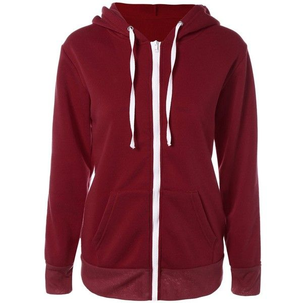 Solid Color Zip Up Fleece Warm Hoodie ($20) ❤ liked on Polyvore featuring tops, hoodies, hooded pullover, red zip up hoodie, fleece hoodie, fleece tops and red hoodie