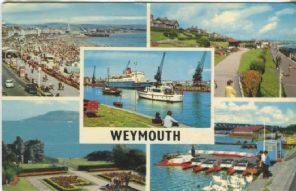 Unknown Postcard, Weymouth Multiview (Beach and Promenade, -Greenhill Gardens, Harbour, Sandfoot Gardens, Swannery)