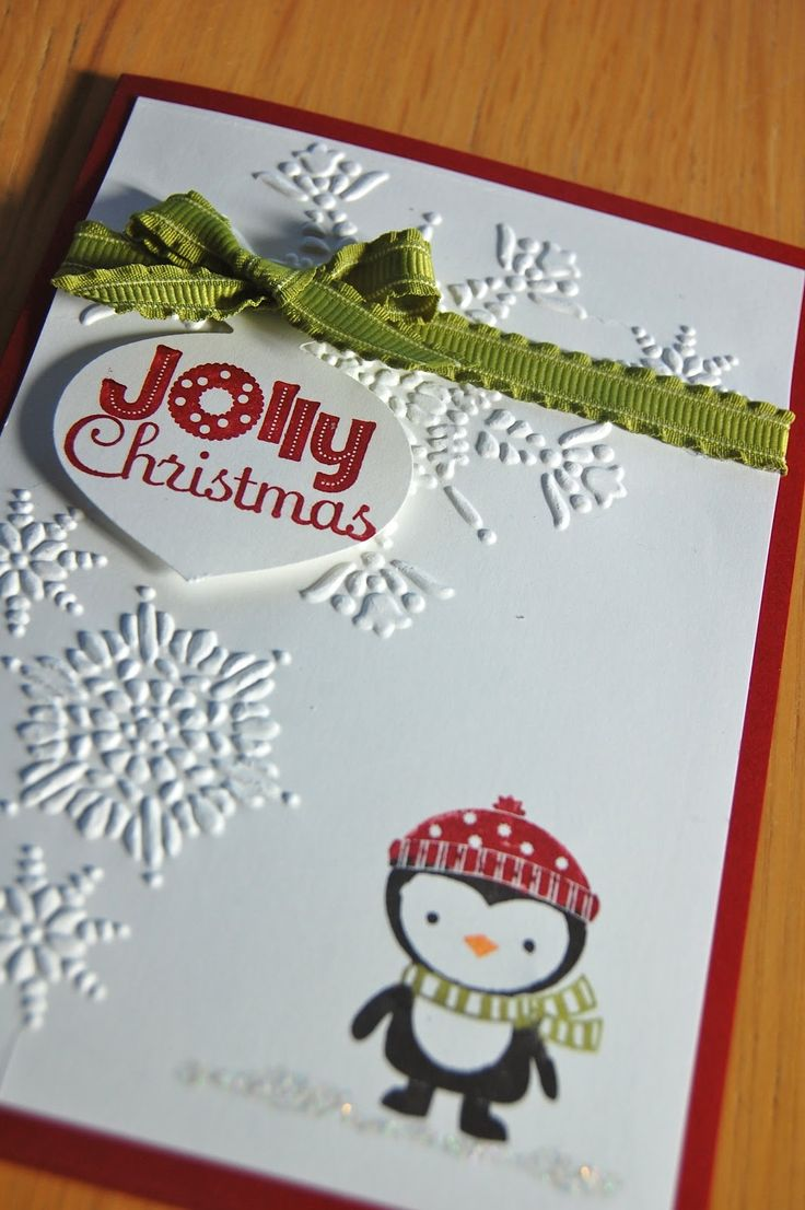 Stampin' Up! No Peeking stamp set, Northern Flurry embossing folder, Ornament punch, Christmas Card