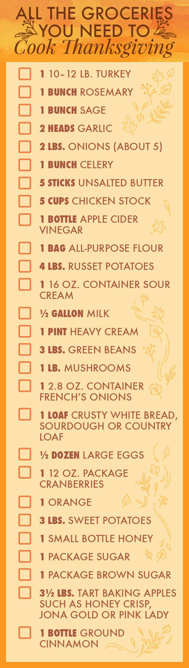 Hosting thanksgiving!!!  Here's your shopping list and a super helpful *printable* PDF.