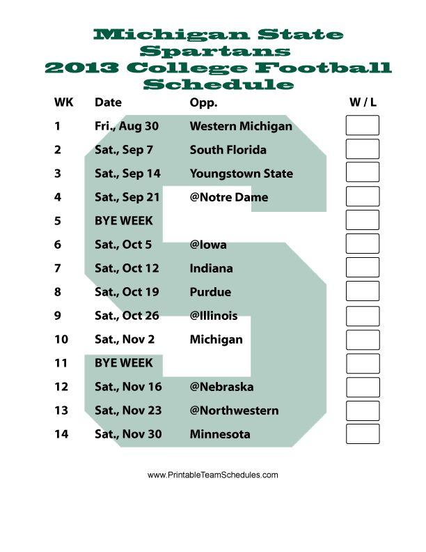 msu printable football schedule 2013 | Printable Michigan State Football Schedule 2013 - Printer Friendly