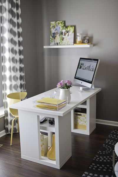 Grey & Yellow Office space, one day my computer will be out of the kitchen and away from my kids.