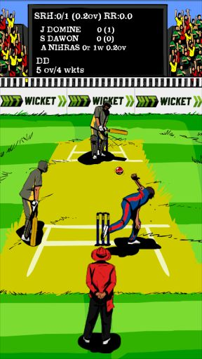 Enjoy 2014 Indian League Cricket!  8 premier League Teams Included like other free IPL Cricket games!★ BANGALORE ★ CHENNAI ★ DELHI ★ HYDERABAD ★ KOLKATA ★ MUMBAI ★ PUNJAB ★ RAJASTHANA fast pace free cricket timepass game made for a casual gamer. Hit Wicket Cricket uses player statistics to calculate the probability of outcomes. As team manager you choose the batting and bowling lineup and strategy to influence the outcome.Hit Wicket Cricket offers you a unique cricket experience ins...