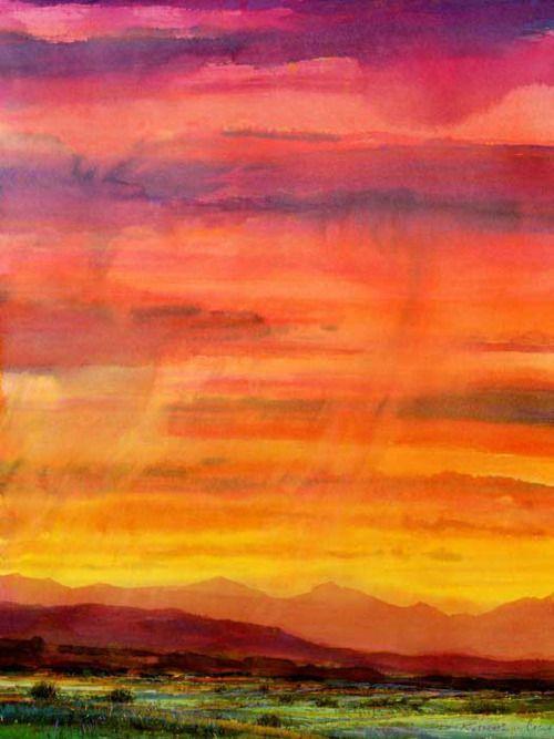 #watercolorOrange, Inspiration, Watercolors Sunrises, Watercolors Canvas, Watercolors Sunsets, Art, Rocky Mountains, Colors Sky, Mountain Sunsets