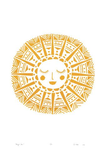 """Maya Sun"" print in Yellow Ochre - Framing Available"