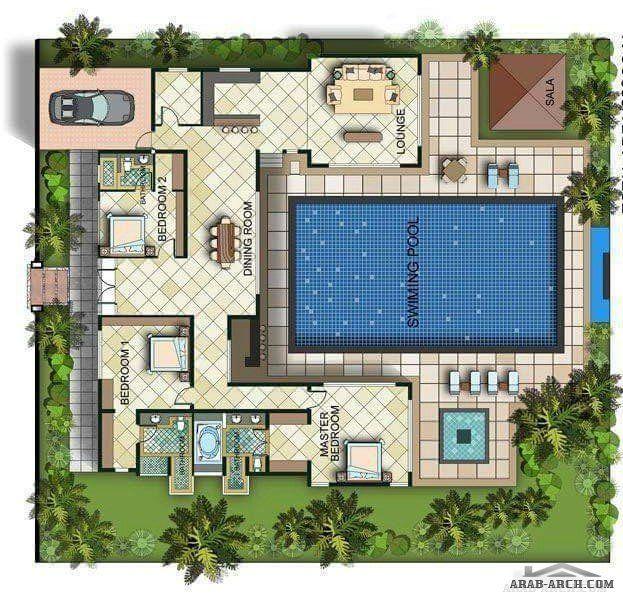 تصميم استراحه رائعه جدااا بمسبح داخلي Pool House Plans Model House Plan Dream House Plans