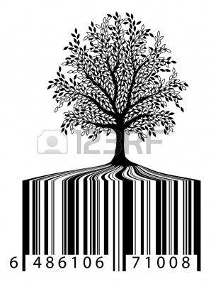 Editable ilustración vectorial de un árbol con código de barras raíces  Foto de archivo