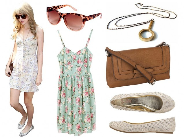 """#HalloweenCostumes #DIYCostumes #TaylorSwift Taylor Swift's signature style is a breeze to replicate. Slip on a romantic floral dress and down-to-earth flats, add vintage magnifying glass (to examine your feelings, of course)—and skip the cleavage. A vintage """"Vote for Kennedy"""" campaign pin would be the sugar on top of this sweet ensemble. Tip: Thrift stores are full of 90's era Laura Ashley prints, which are spot-on Swift.  http://www.ivillage.com/pop-star-halloween-costumes/5-b-393046#"""