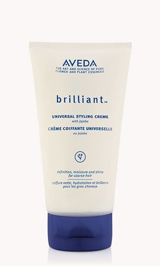 Aveda Brilliant Styling Creme provides moisture, definition and shine for coarse hair.