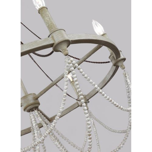 Feiss Beverly French Washed Oak And Distressed White Wood Six Light Chandelier On SALE