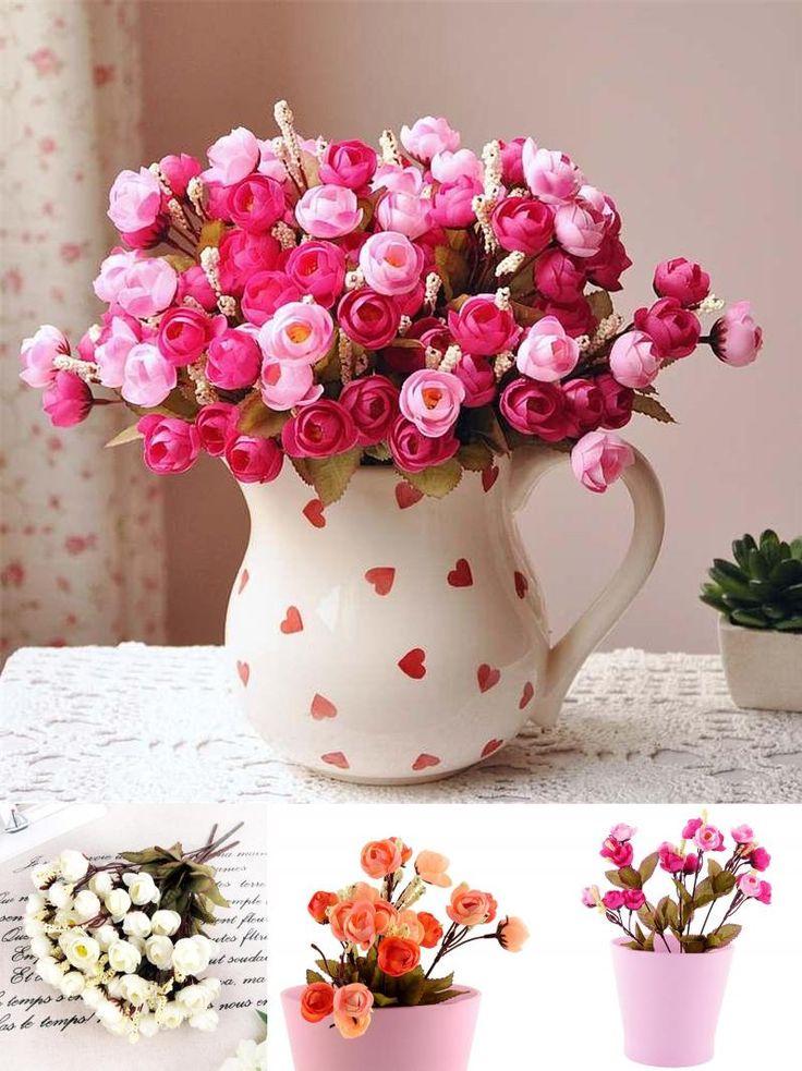 [Visit to Buy] 18 Red Rose Fake Artificial Flowers Cheap Camellia Magnolia Floral Peony Arrangement Bouquet Hydrangea Decor Wedding Decoration #Advertisement