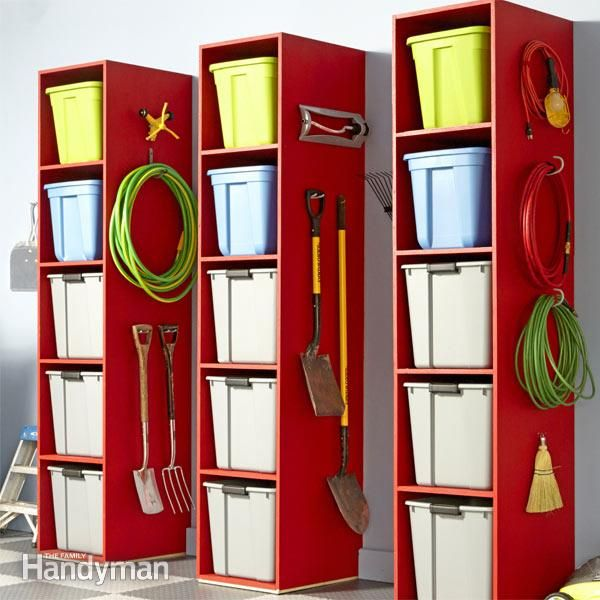 here's an easy-to-build tower for storing stuff in your garage, basement or mudroom