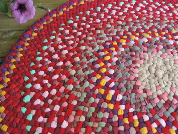 Wonderful Handmade Braided Round Rug In Persian Red And By Mrsginther, $250.00