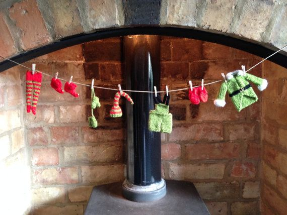 Elf's Laundry  Hand Knitted Washing Line  by MistyWoolCrafts