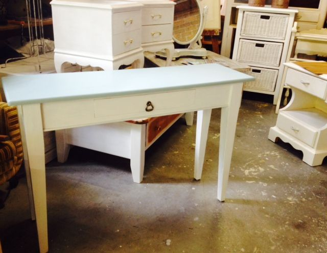 SOLD - Hall / Entry Console Table  duck egg blue top with a natural white base, one drawer, excellent condition  115cm w x 35cm d x 76cm high  - $175 -  Pick up Allambie with delivery available at a reasonable rate