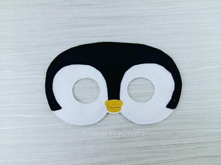 Penguin Mask - Felt Penguin Mask for Birthday Parties - Halloween - Dress-up Play - Penguin Halloween Mask, Penguin Halloween Costume by AHeartlyCraft on Etsy