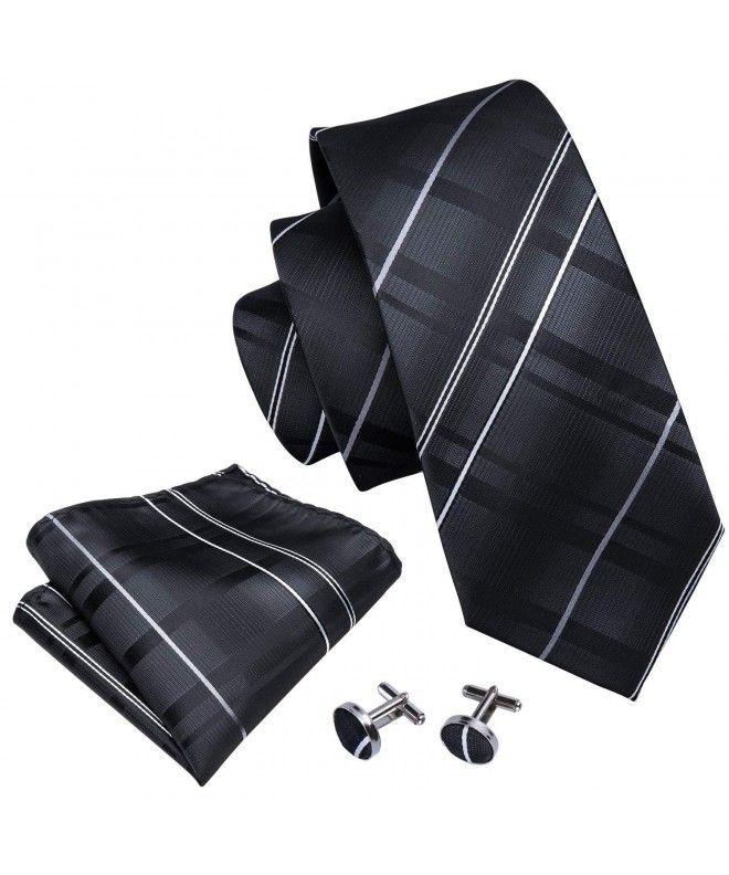 31af161da522 Mens Ties Classic Stripe Tie Set for Men Silk Woven Hanky Cufflinks -  Black-5005