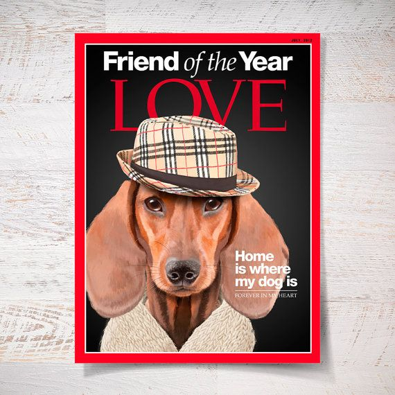 Stylish Mr Dachshund portrait on Time magazine cover by SparaFuori