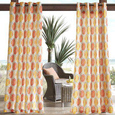 "Zipcode Design Dahlia Printed Circles 3M Scotchgard Outdoor Single Curtain Panel Size: 54"" W x 95"" L, Color: Orange"